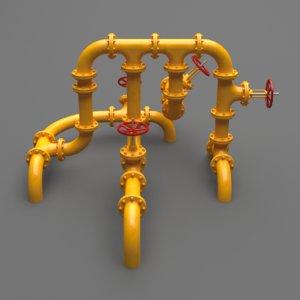 3D set industrial pipes model