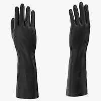 Large Black Rubber Lab Gloves Worn