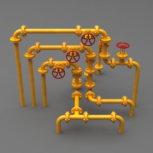 3D set industrial pipes small