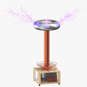 3D tesla coil 02 lit model