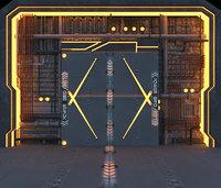 3D model futuristic door animation