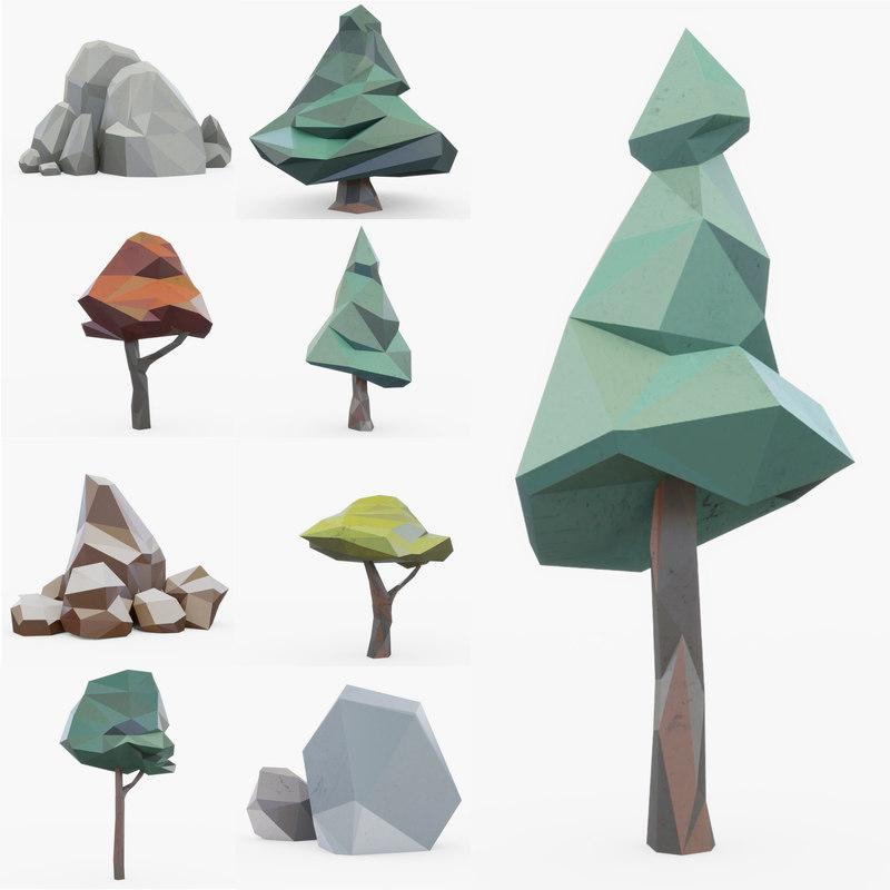 3D rocks tree animation