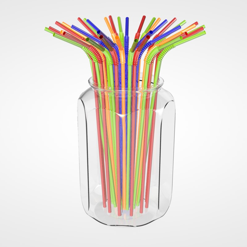 3D straws glass