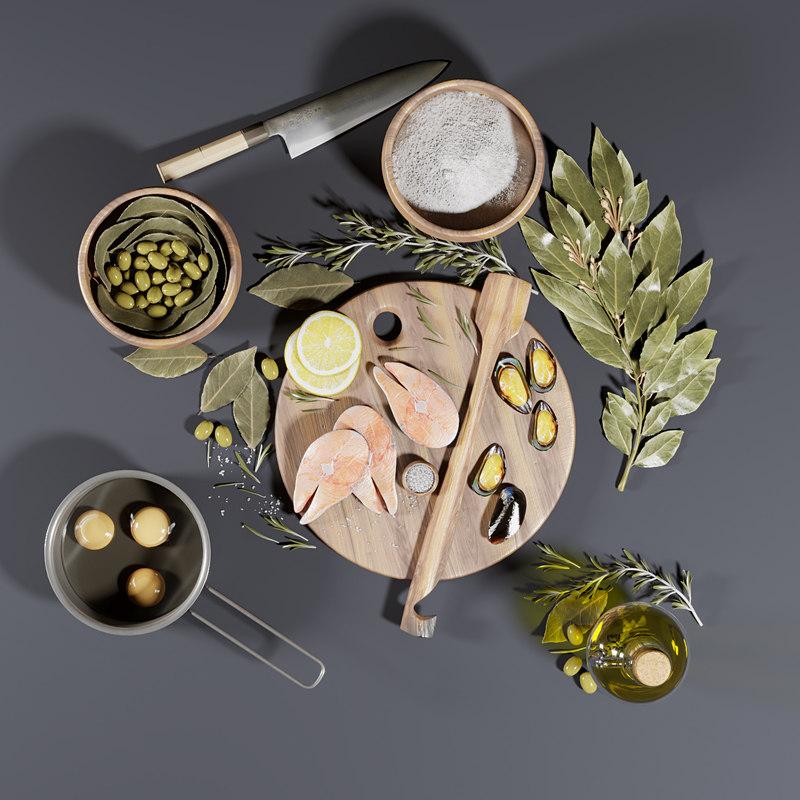 kitchen rosemary oil 3D model