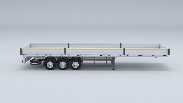 truck flatbed trailer 3D model