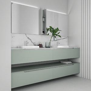 bathroom furniture set gold 3D model
