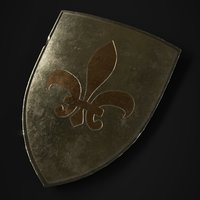 3D medieval shield metallic model