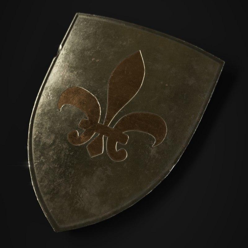 3D medieval shield metallic model