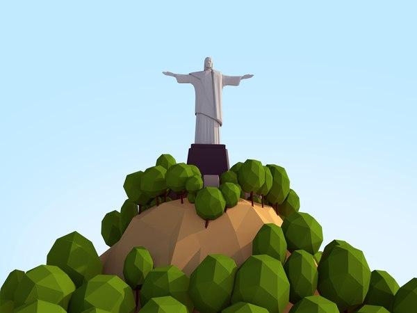 cartoon christ redeemer 3D model