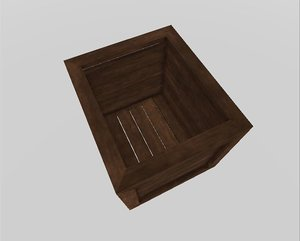 3D contains wooden crate model