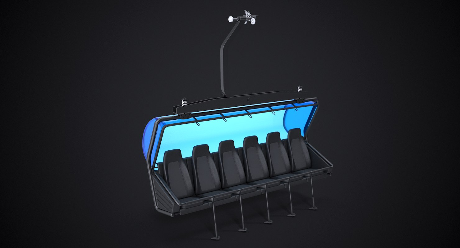 3D generic chairlift 6 seat model