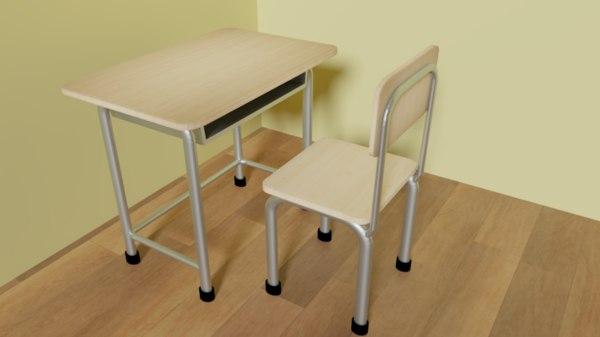 3D desk chair school