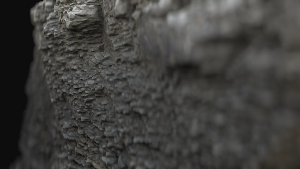 3D photoscanned stone wall nature model