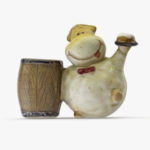 3D statuette sheep barrel model