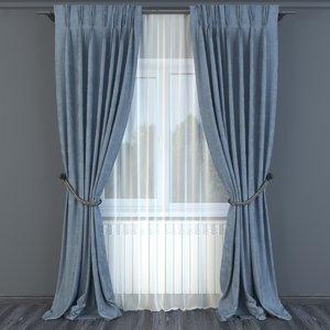 3D model curtain decor fabric
