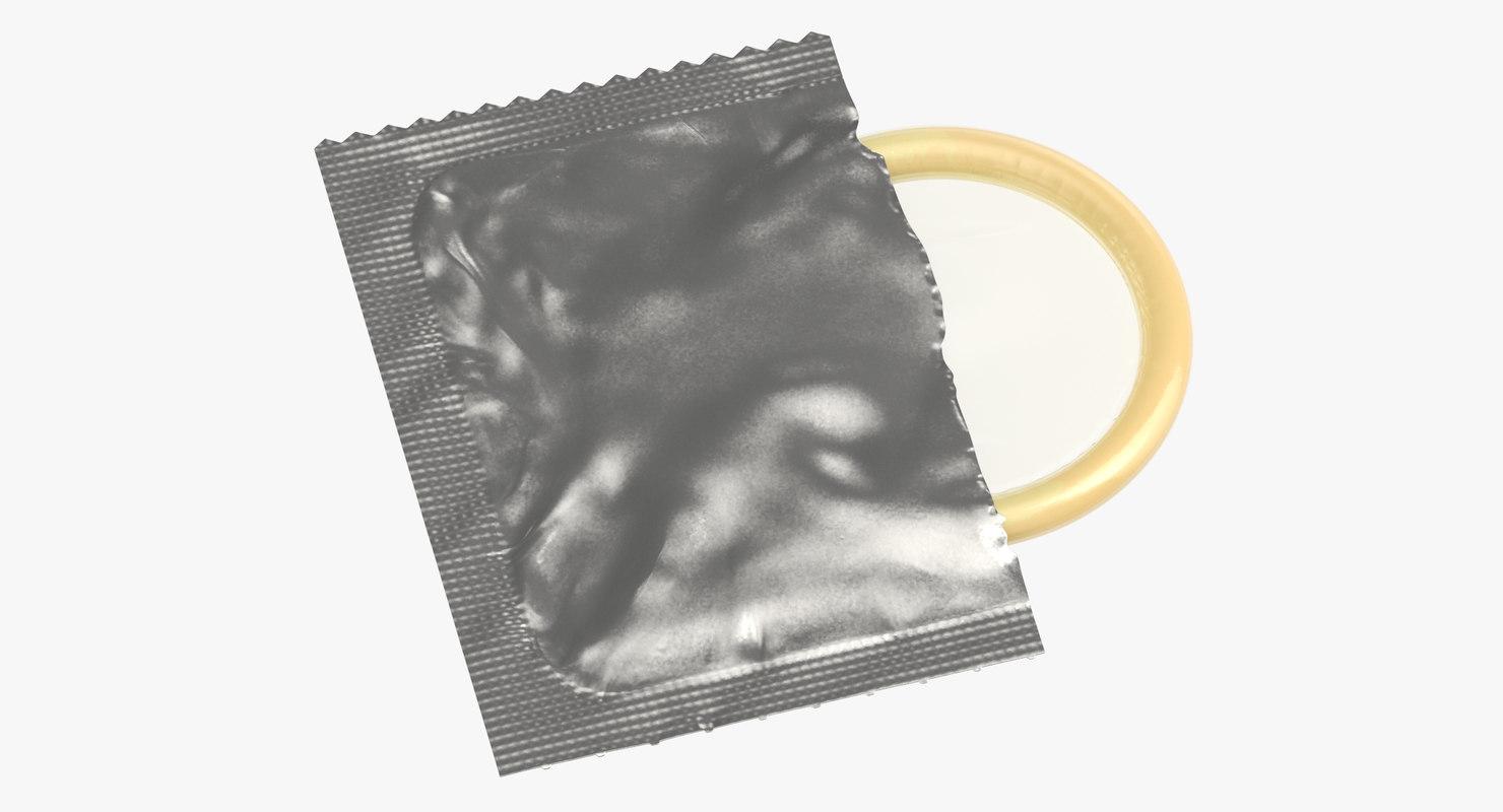 3D condom unwrapped silver