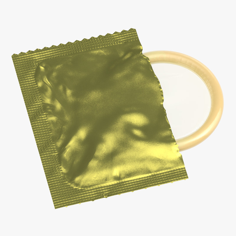 3D condom unwrapped yellow