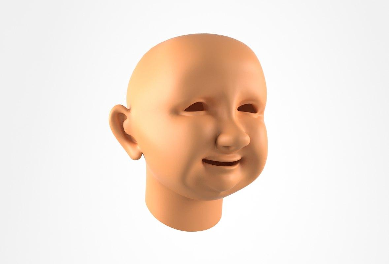 3D model head cartoon granny