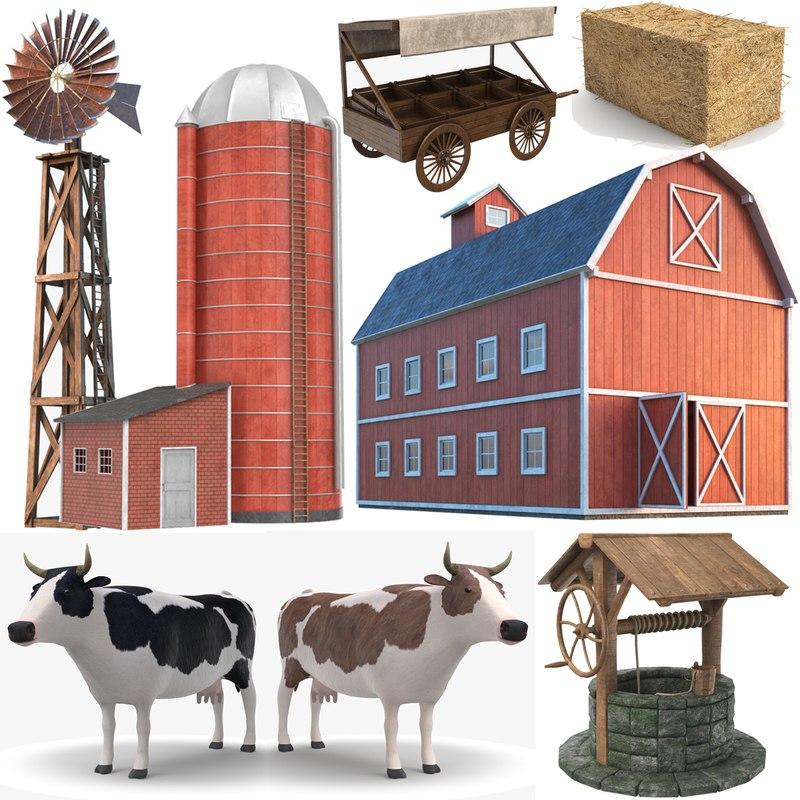 farm modeled barn model