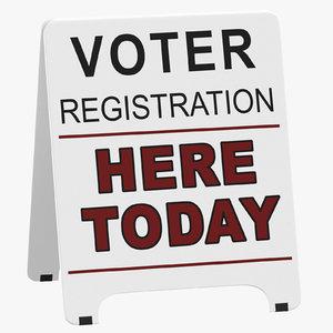 voter registration sign 3D