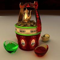 chinese gold ingot bucket 3D model