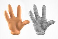 3D cartoon hand fingers model