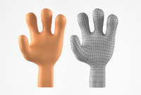 3D hands stylized cartoon character model