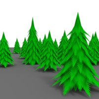 3D pine tree cartoon