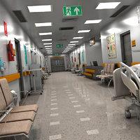 3D realistic hospital hallway