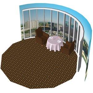 3D model cozy restaurant
