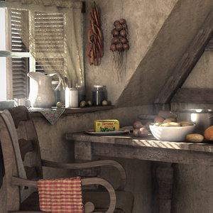 village kitchen 3D model