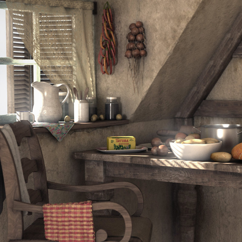 Village Kitchen 3d Model Turbosquid 1335221