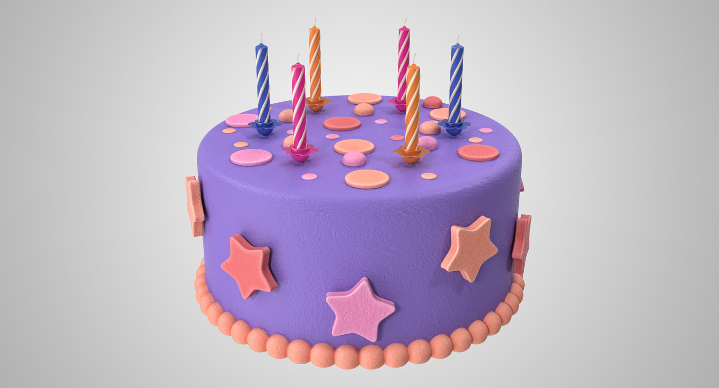 3D birthday cake candles model