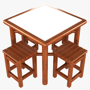 3D folding picnic table stools