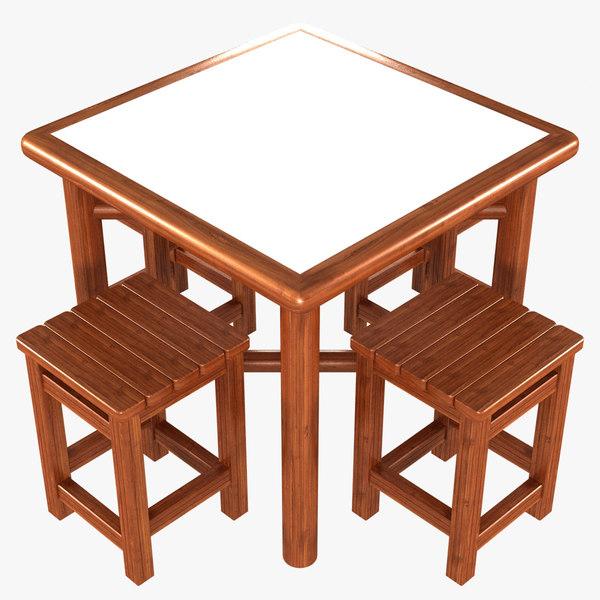 3D folding picnic table stools