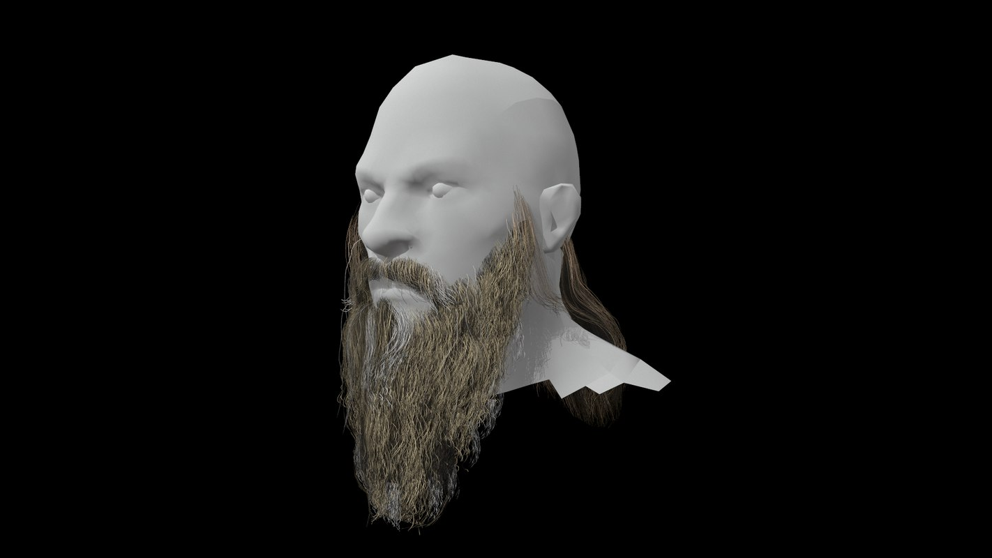 low-poly beard 3D