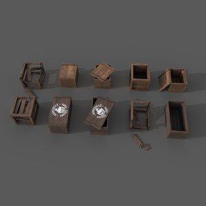 wooden crates 3D