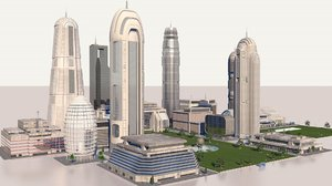 pack futuristic buildings 3D