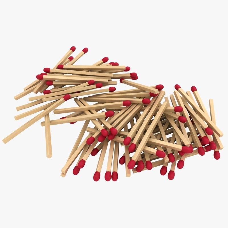 3D model matchstick pile