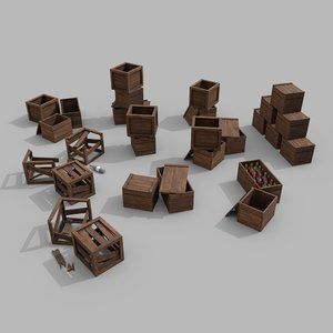 3D crates used model