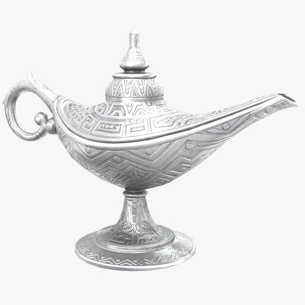 3D model aladdin magic lamp vintage
