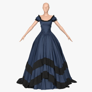 blue retro dress 3D