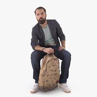 Bearded Man with Bag