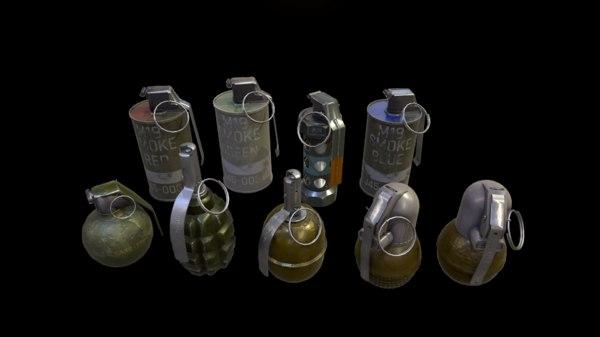 pack grenades 3D model