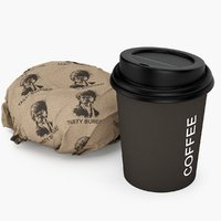 burger wrapping coffee cup 3D