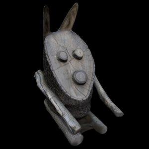 3D wooden rabbit model