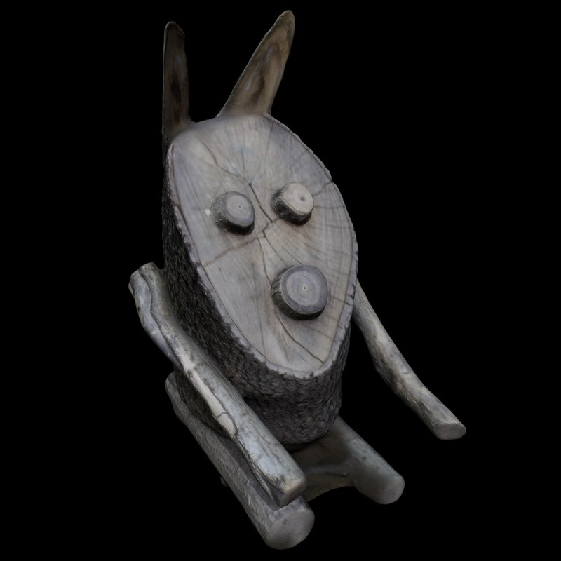 3D wooden rabbit model