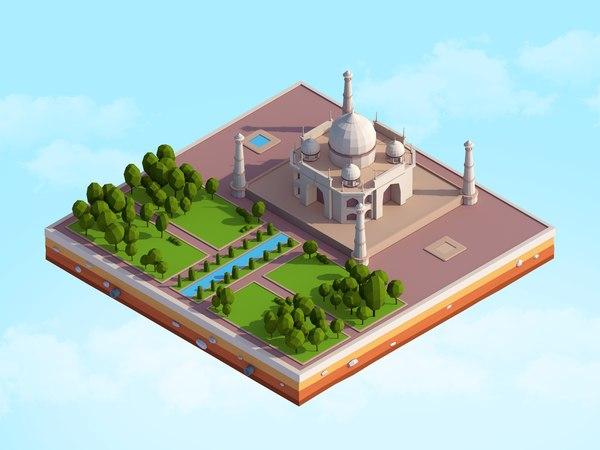 3D cartoon tajmahal landmark