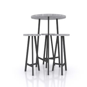 3D low-poly bar table stools