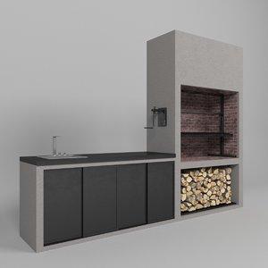3D model barbecue bbq grill